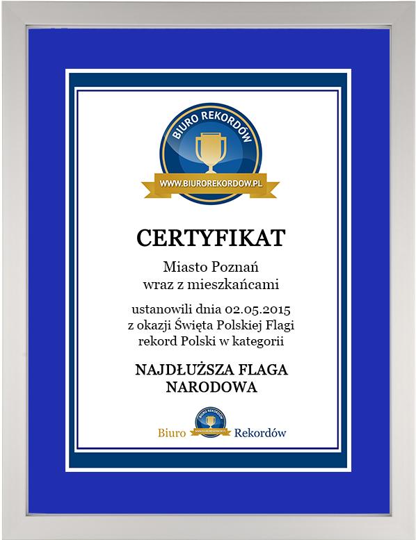 Rekordy Polski - Certyfikat wramce