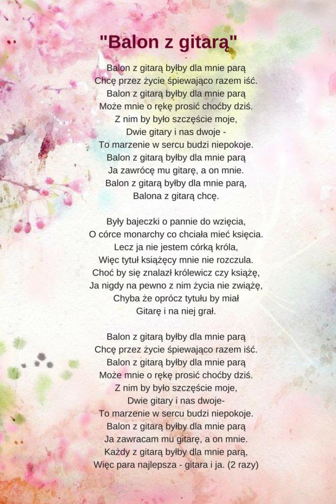 Balon z gitarą - tekst piosenki