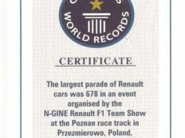 Rekord Guinnessa Renault - certyfikat