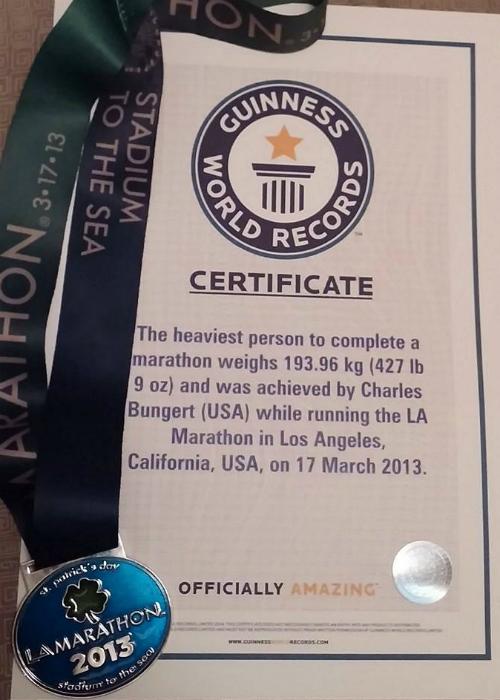Charles Bungert certyfikat rekordu Guinnessa