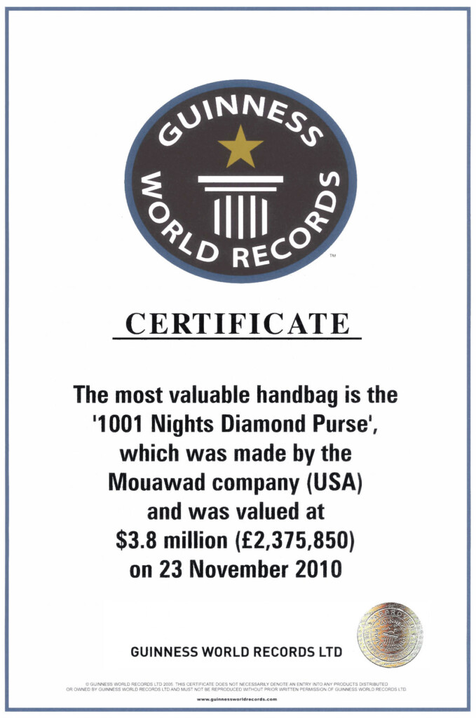 Najdroższa damska torebka - Certyfikat Guinnessa