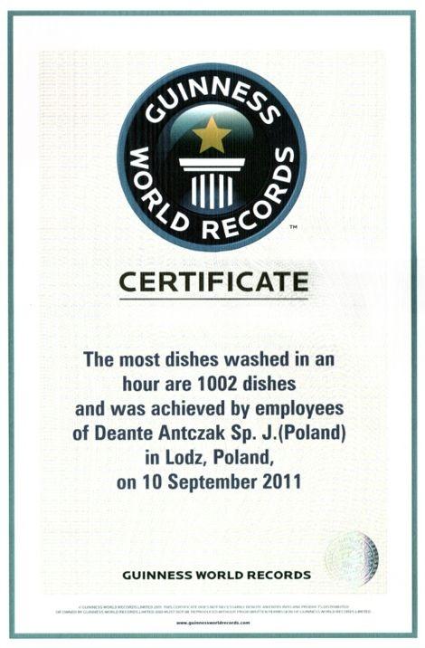 certyfikat - mycie naczyń - rekord guinnessa