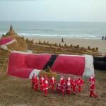 Największy św. Mikołaj z piasku