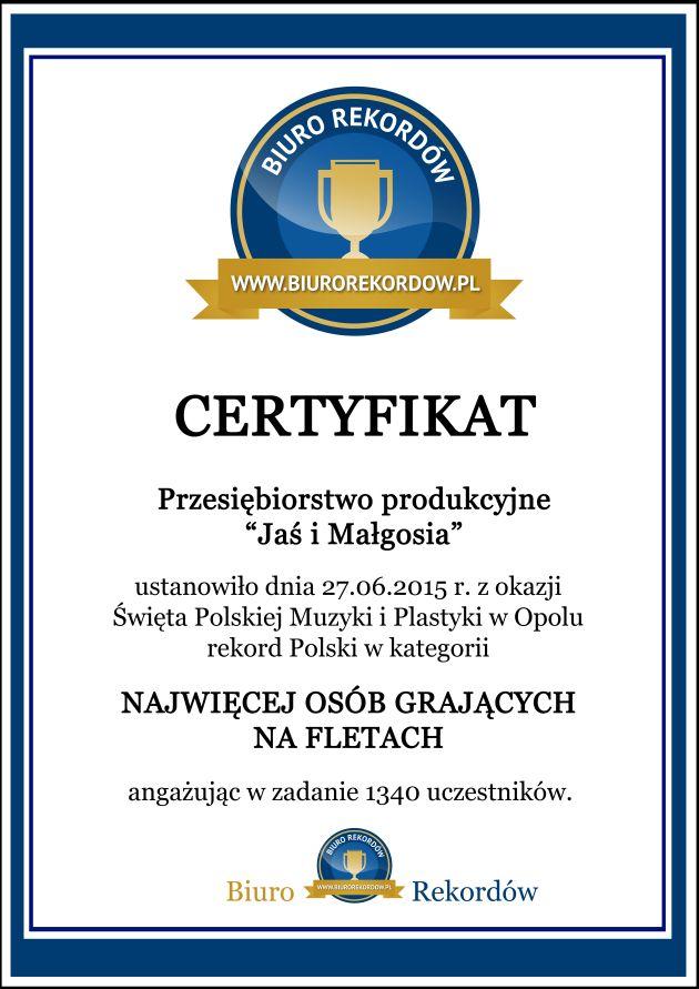 Rekordy Polski - Certyfikat bezramki