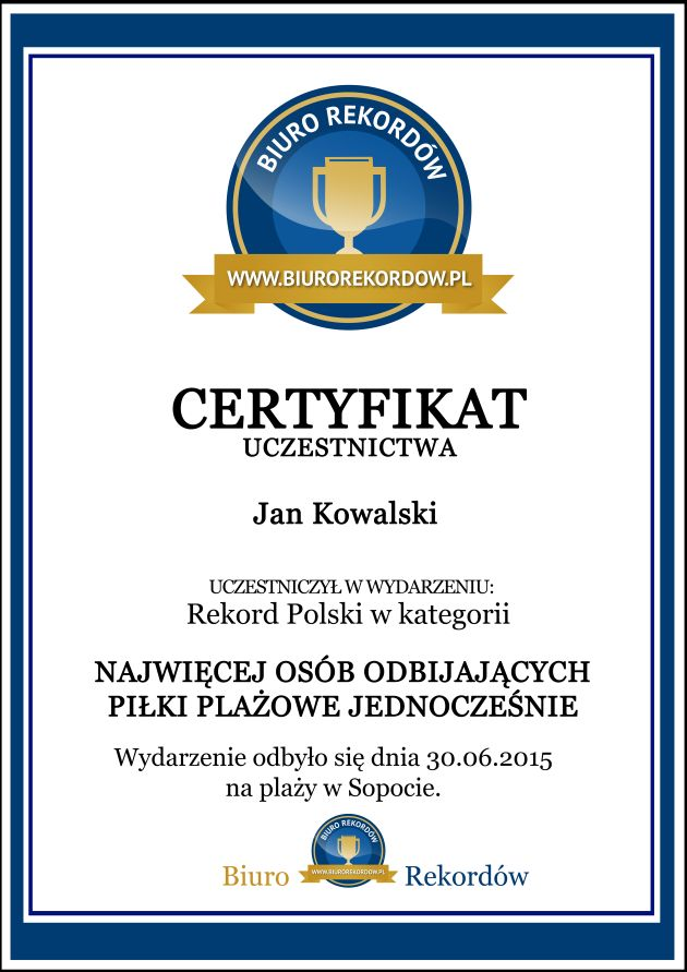 Rekordy Polski - Certyfikat uczestnika