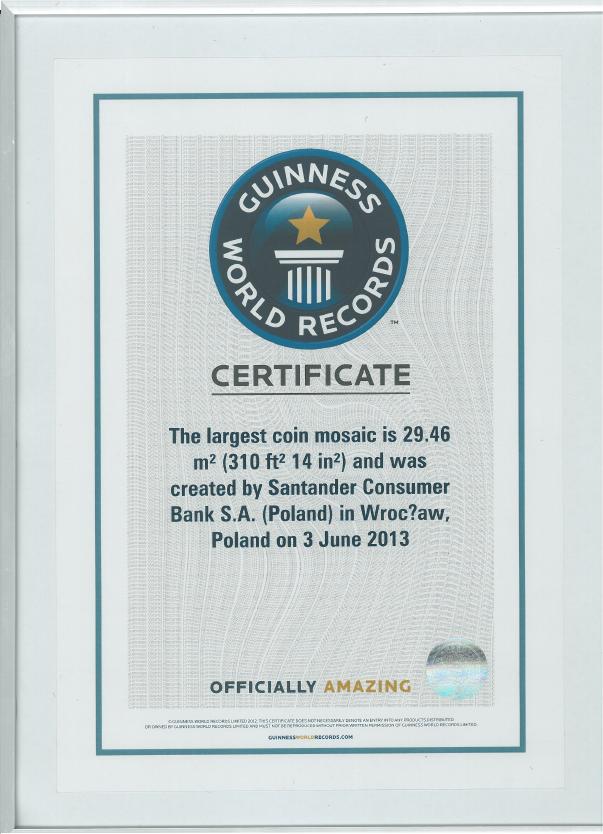 Mozaika zmonet - Rekord Guinnessa - Certyfikat