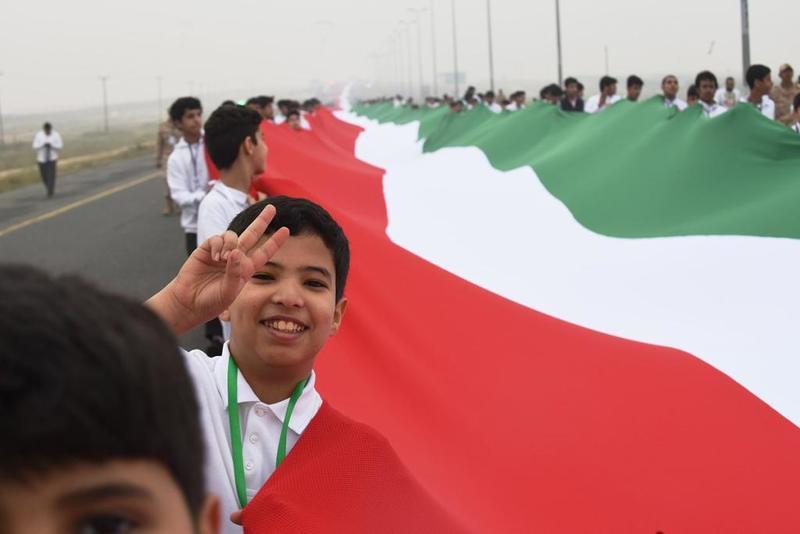 Najwięcej osób niosących flagę