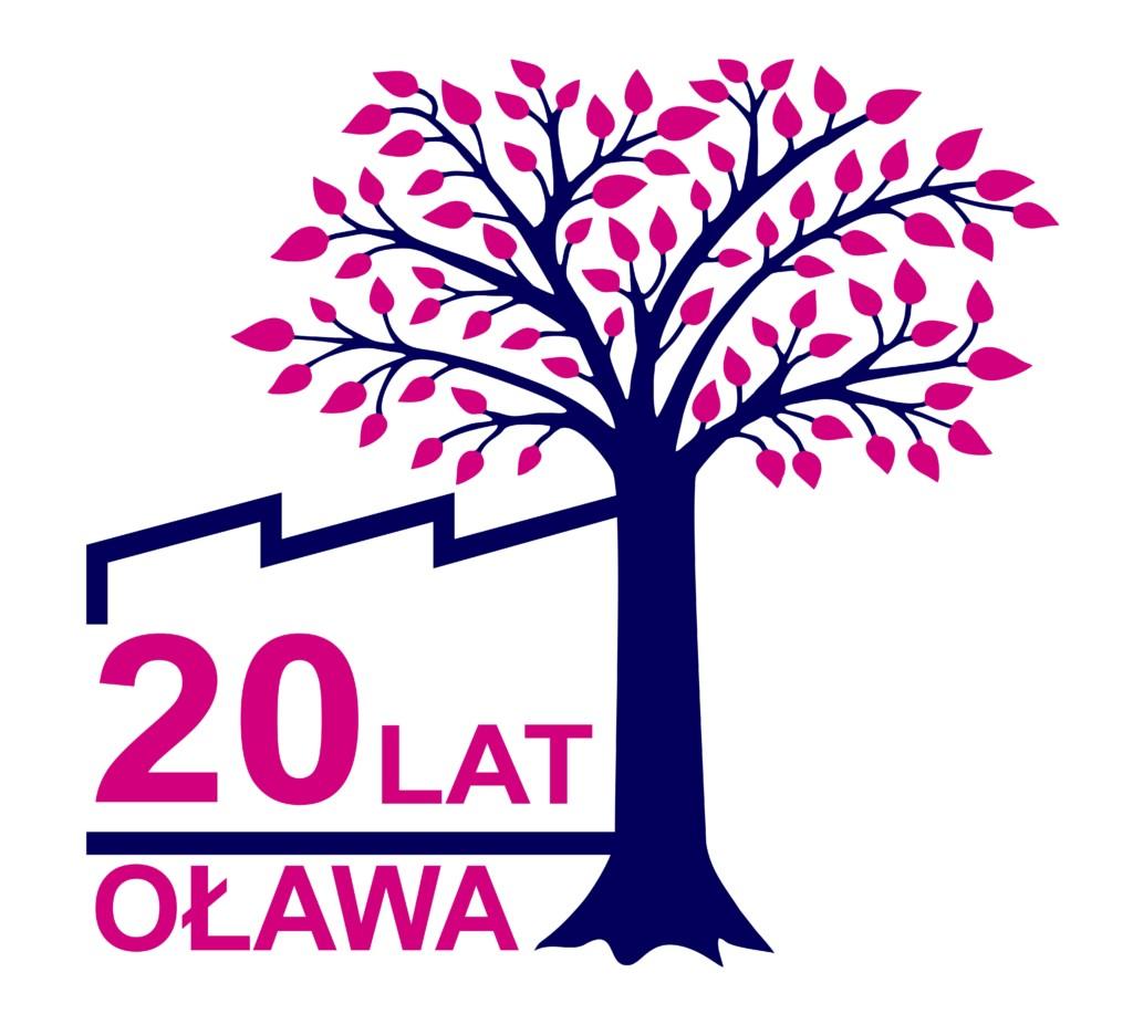 Logo 20 lat Oława Essity white