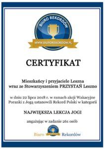 Certyfikat - Rekord Polski