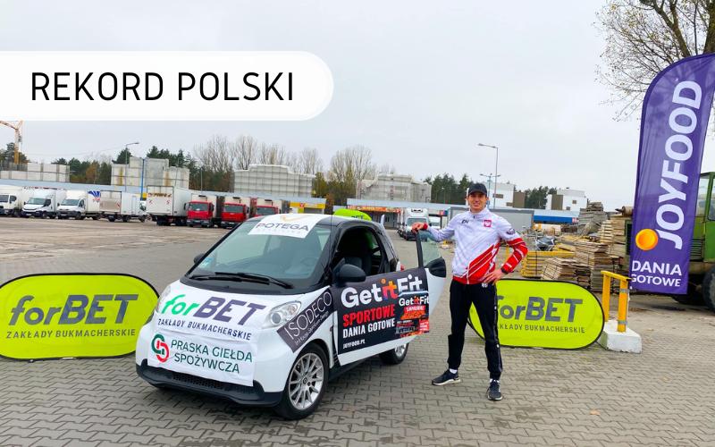 Rekord Polski - najdłuższy dystans pokonany pchając przed sobą samochód w 24 h